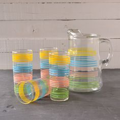 Vintage pitcher and tumblers / glasses set.