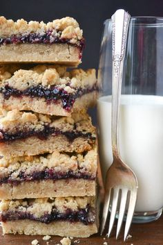 Buttery peanut butter shortbread bars with jam baked inside