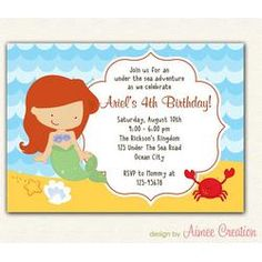 Ariel Invitation PRINTABLE - Little Mermaid Birthday Party for Girls