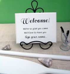 Welcome Sign Your Name Wedding Guest Book Sign In Table 12x9 Bu0026B Beach  Nautical Lake Baby