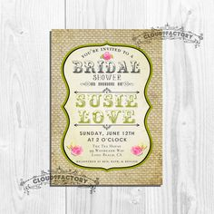 Burlap Bridal Shower Invitations  Printable by Cloud9Factory, $20.00