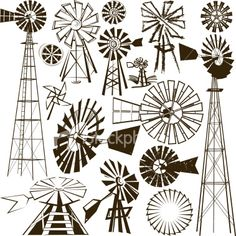 Windmill Clipart and Stock Illustrations. Windmill vector EPS illustrations and drawings available to search from thousands of royalty free clip art graphic designers. Windmill Drawing, Windmill Tattoo, Farm Windmill, Windmill Decor, Old Windmills, Stock Foto, Art Drawings, Art Projects, Stencils