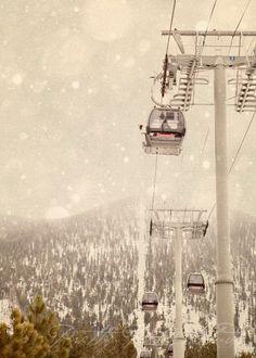 Fine Art Photograph, Ski Gondola at Heavenly Lake Tahoe, Winter Scene, Snow Falling, Creamy Tones, Lodge, Ski Resort, Mountains, 8x10 Print. $30.00, via Etsy.
