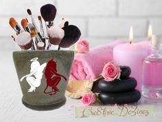 Angel Devil Makeup Brush Holder, Glitter Makeup Brush Holder, Bathroom Decor, Glitter Brush Holder, I Love Makeup Jar, Good vs Evil Makeup by Cre8tiveDeZinez on Etsy