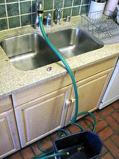 Attach Garden Hose To The Kitchen Sink Faucet So You Donu0027t Have To Lug  Buckets Of Water Outside!