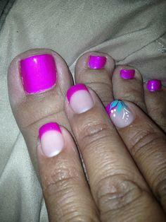 Purple French mani & pedi combo for summer!