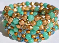 NWT Beaded bracelet set. 3  semiprecious stone,gold Beads and crystals  | eBay