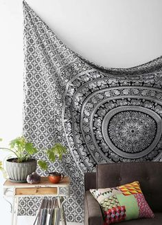 $29.90 Black and White Tapestries Elephant Mandala Hippie Tapestry Indian Traditional Throw Beach Throw Wall Art College Dorm Bohemian Wall Hanging Boho Twin Bedspread from Crystalline
