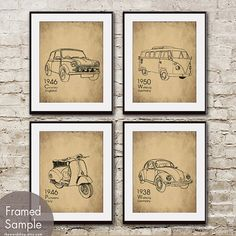 VINTAGE RIDES - Set of 4- 8x10 Prints  (Featured in Corkboard and Black) (VW bus, Mini Cooper, Vespa, Beetle)