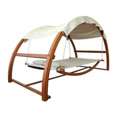 It's a swing bed with canopy-- sort of an awesome covered hammock. You'll want to snooze and swing all weekend.