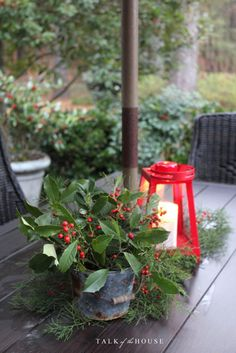 Christmas centerpiece on picnic table