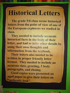 Historical letters written from the point of view of explorer: Runde's Room: social studies
