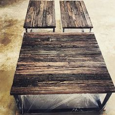 Railway sleeper coffee tables #railway #sleeper #wood #table #love #rustic #upcycled #recycled #furniture #theatticdubai
