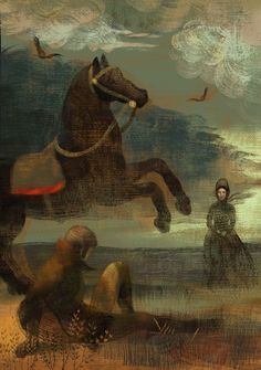 Jane Eyre illustration by Anna and Elena Balbusso. The first fateful meeting between Jane and Mr. Rochester.