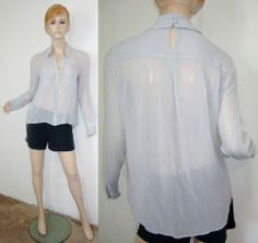 BCBG MAXAZRIA Emma 100% Silk Pearl Gray Sheer Chiffon High Low Top Blouse M...http://stores.shop.ebay.com/vintagefluxed