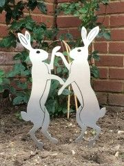 Our Boxing Hares are made from a simple template design with 3mm brushed stainless steel