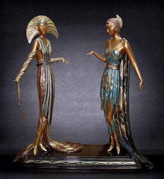 Two Vamps Romain De Tirtoff, Art Deco Design, Illustrations, Sculpture Art, Art Nouveau, Roman, Bronze, Pets, Artist