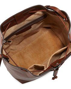 Bucket 10 Grained Calfskin Bag, Chestnut