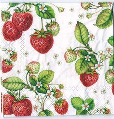 Decoupage Paper Art Napkin | Strawberries by Chiarotino on Etsy