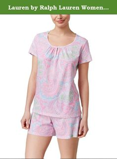 Lauren by Ralph Lauren Women's Scoop-neck Boxer Pajama Set (Large, Pink). Enjoy the cool comfort and relaxed style of this short-sleeve top and boxer pajama set from Lauren Ralph Lauren. Short-sleeve top features a scoop neck, lace trim and a single-button-front closure. Boxer shorts have an elastic and drawstring closure. Cotton/polyester. Machine washable. Imported.