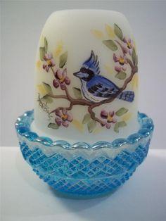 Mosser Glass BLUE JAY BIRD HP AQUA Blue Carnival Base Opal FAIRY LIGHT LAMP #MosserGlassCompany