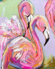 Flamingo Mingo -Paintings by Brooke Ring - Art // colorful flamingo art decor // abstract animal painting // abstract flamingo painting Colorful Animal Paintings, Abstract Animals, Colorful Animals, Flamingo Painting, Flamingo Art, Ballerina Painting, Painting & Drawing, Painting Abstract, Usa Tumblr