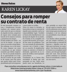 Amigos, los invito a leer mi columna en el distinguido periódico La Visión. Esta semana estaremos hablando acerca de cómo romper su contrato de renta en la manera correcta. Disfruten!