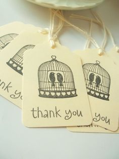 Vintage Wedding Favor Tags-Love Birds-Birdcage. $6.50, via Etsy.