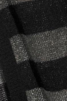 Karl Lagerfeld - Striped Metallic Stretch-knit Cardigan - Black - x large