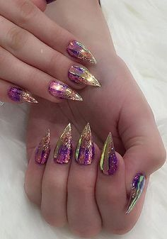 Holographic Ombre Nail Design 2019 sparklenails in 2020 Dope Nails, Bling Nails, Glitter Nails, Perfect Nails, Gorgeous Nails, Pretty Nails, Nail Swag, Nagel Bling, Romantic Nails