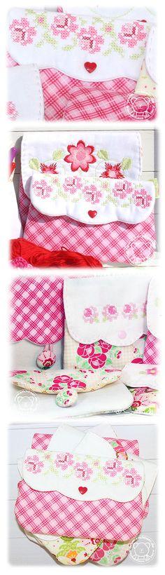Lovely little embroidered pouches ... Use hankies!!!....Der Stickbär | Designbeispiel: Grosse Taschenspielereien