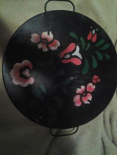 This is a fabulous turn of the century cake holder by Kreamer. Original latch and hinged lid intact. It has been painted with a floral folk art design. Excellent condition for age. Kreamer stamped on bottom. | eBay!