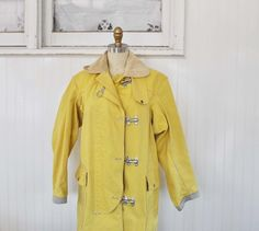 Vintage SUNNY YELLOW Fishermans Coat by MariesVintage on Etsy