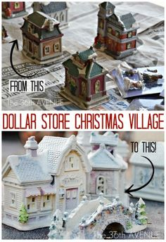 DIY Dollar Store Christmas Village. I used to love playing with my grams village as a kid