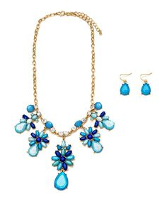 Blue Flower Bib Necklace & Earrings