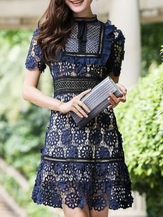 Shop Navy Crochet Hollow Out A-Line Dress online. SheIn offers Navy Crochet Hollow Out A-Line Dress & more to fit your fashionable needs.