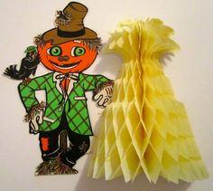 Vintage Beistle Scarecrow and honeycomb corn stock. 70's - early 1980's.