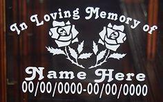 In Loving Memory Roses Vinyl Decal Window Sticker Set of 2 #2
