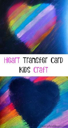 The kids will be excited to help with a Mother's Day gift! This Heart Transfer Mother's Day card is a perfect craft for preschoolers. They will love creating a homemade card for Mom. #mothersday #crafts #kids #craftsforkids #chalk #homemadecard #hearts #p