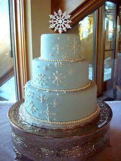 Ice Blue Fondant Winter Wedding Cake with Cascading Snowflakes White Wedding Cakes, Beautiful Wedding Cakes, Beautiful Cakes, Blue Wedding, Snowflake Cake, Snowflake Wedding, Wedding Cake Designs, Wedding Cake Toppers, Wedding Ideas