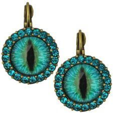 View Item: KIRKS FOLLY PROTECTED BY DRAGON'S EYE LEVERBACK EARRINGS brasstone / teal