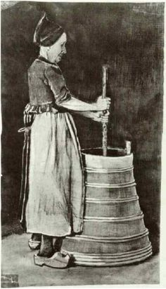 Vincent van Gogh Woman Churning Butter Watercolor
