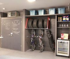 More ideas for organizing the garage. I love the tire holder with the bikes underneath.