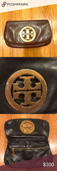 AUTHENTIC Tory Burch clutch/crossbody bag Authentic black Tory Burch clutch with gold emblem. Comes with adjustable gold chain strap which can be taken off or put on and used as a clutch or crossbody bag. In good/used condition. As you can see in the photos the emblem has flaws. Still has a ton of life left in it 😊 offers are welcomed Tory Burch Bags Clutches & Wristlets
