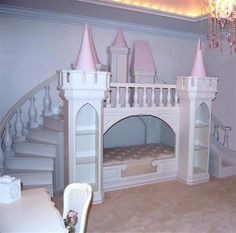 Princess Bedroom Ideas With Colorful Pink Furniture - Home & Decor Princess Bunk Beds, Princess Bedrooms, Bunk Beds For Sale, Kids Bunk Beds, Teenage Girl Bedrooms, Girls Bedroom, Bedroom Ideas, Bed Ideas, Bedroom Designs