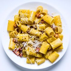In Rome, chef Barbara Lynch ate the perfect carbonara: The sauce was bright yellow from fresh eggs, and each rigatoni hid cubes of fatty guanciale. Yummy Recipes, Pastas Recipes, Pasta Sauce Recipes, Easy Pasta Recipes, Cooking Recipes, Egg Recipes, Pasta Ideas, Amazing Recipes, Brunch Recipes
