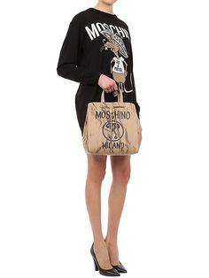 moschino - women - shoulder bags - printed leather bucket shoulder bag