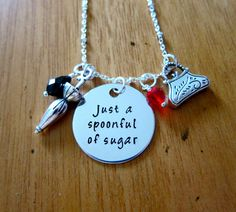Mary Poppins Inspired Necklace. Just a Spoonful of Sugar Necklace. Mary Poppins gift. Mary Poppins jewelry. Swarovski crystals. Hand stamped