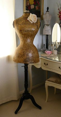 1890s French Mannequin - fun accessory for the sewer or francophile. Look at that TINY waist and the hourglass shape. So need one of these !! !!
