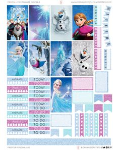 Free Printable Frozen Planner Stickers from Organized Potato